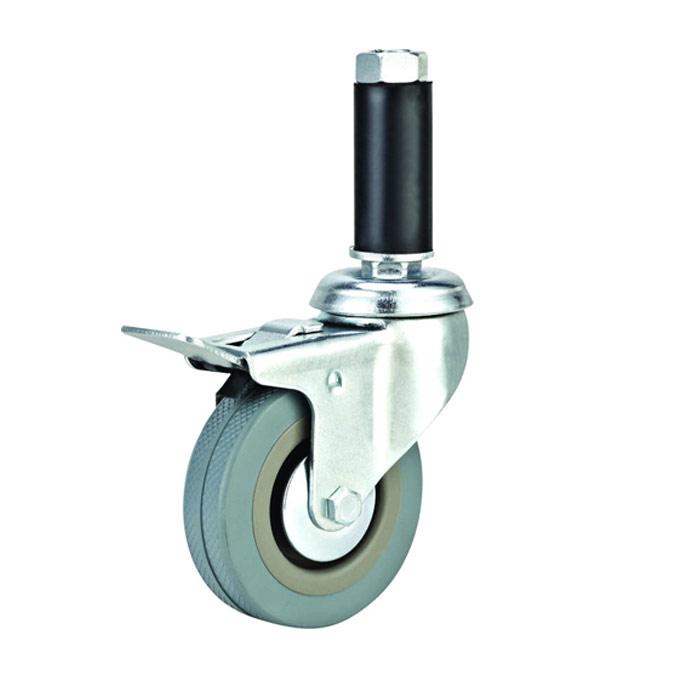 3寸灰胶透明丝杆活动医疗脚轮